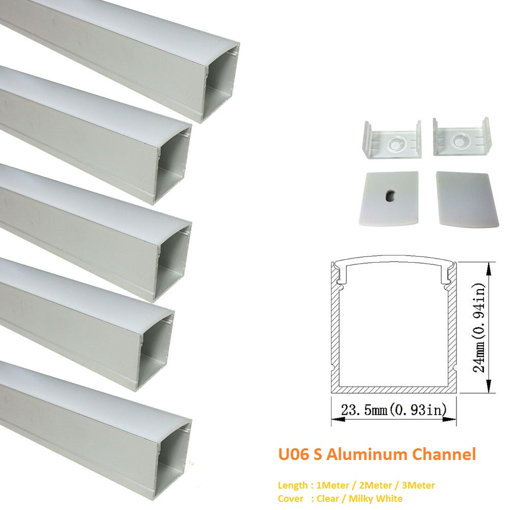 Sliver U06 24x24mm Silver U Shape LED AluminumBlack Channel Internal width 20mm with White Diffuser Cover, End Caps and Mounting Clips for LED Strip Light Spot Free Installations