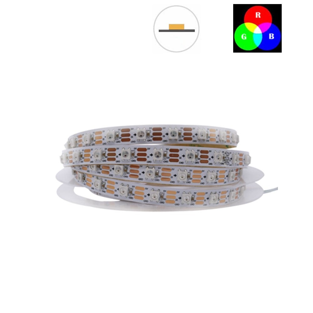 DC 5V TM1914 Breakpoint Continuingly RGB Color Changing Addressable LED Strip Light 5050 RGB 16.4 Feet (500cm) 60LED/Meter LED Pixel Flexible Tape White PCB