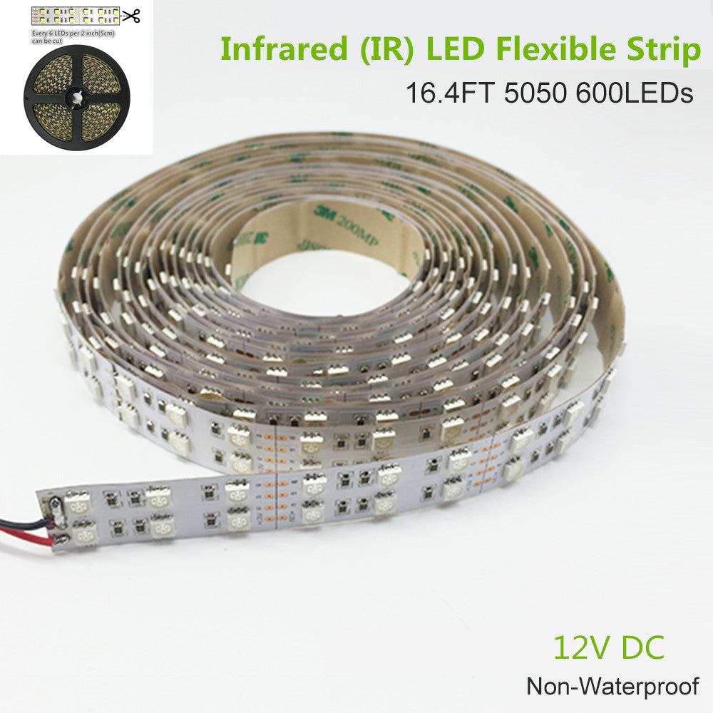 DC12V 5Meter/16.4ft 144W Tri-Chip SMD5050 600LEDs Double Row 850nm 940nm IR InfraRed Flexible LED Strips White PCB 60LEDs 14.4W Per Meter for Multitouch Screen, Night Light Application