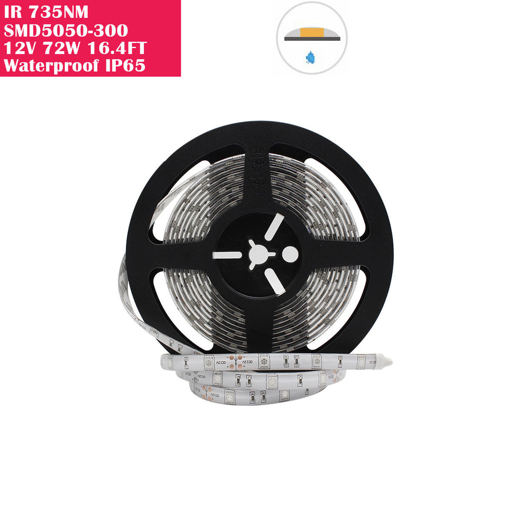 5 Meter (16.4 Feet) IR Infrared 735nm SMD2835-300 12VDC 60Watt 60LED/Meter  Flexible LED Strip Lights