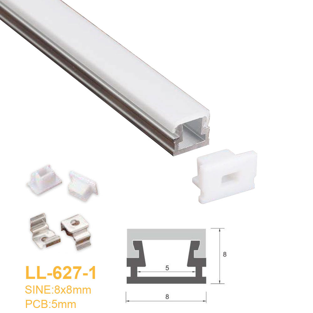 8MM*8MM LED Aluminum Profile with Flat Milky White Cover Surface Mounting for LED Rigid Strip Lighting System