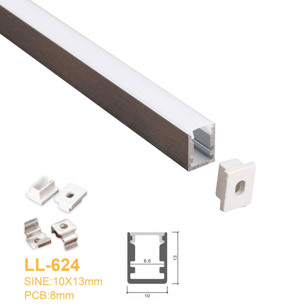 10MM*13MM Mini Square trimless Surface Mounting Aluminum Profile with Flat Cover ,End Caps and Mounting Clips Included