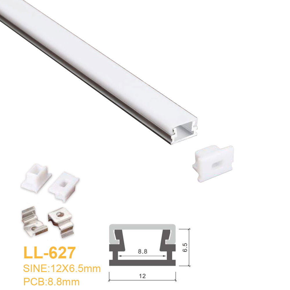 12MM*6.5MM LED Aluminum Profile with Flat Milky White Cover Surface Mounting for LED Rigid Strip Lighting System