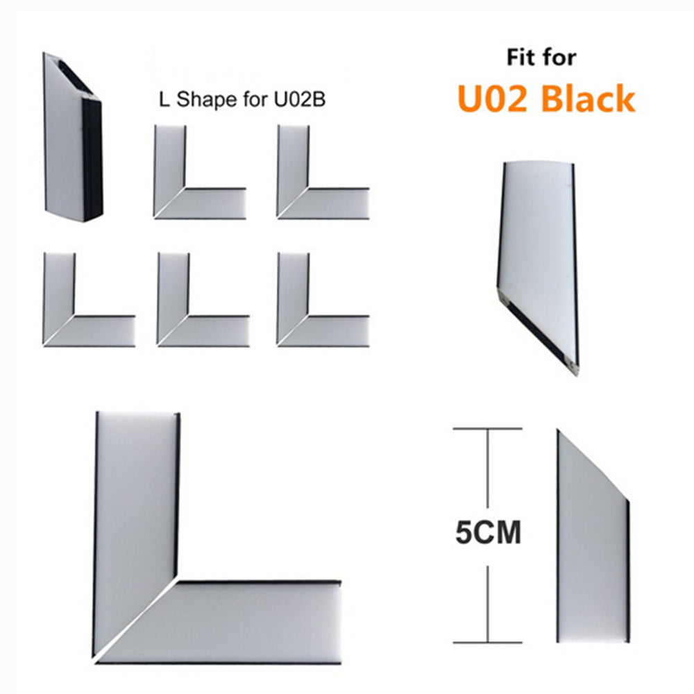 5Pair/10Pcs Spliced L-shape Adapter of LED Aluminum Channel Solution for 90 Angle Turning Corner Cabinet Bar Kitchen Wardrobe Installation Fit for Aluminum Profile Model U01, U02, U03, U04, U05,U06