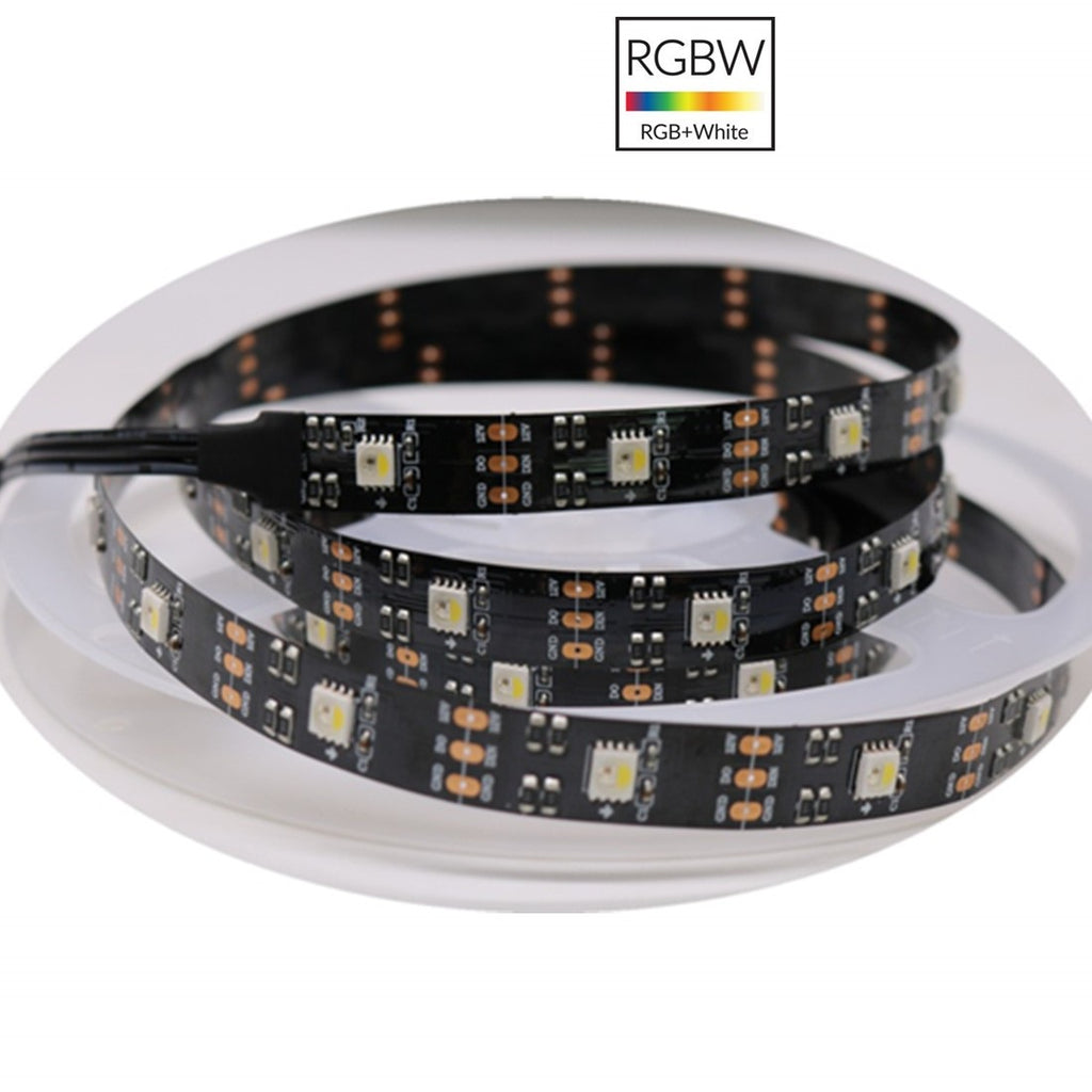 DC 12V SK6812 Individually Addressable LED Strip Light 5050 RGBW 16.4 Feet (500cm) 30LED/Meter LED Pixel Flexible Tape Black PCB