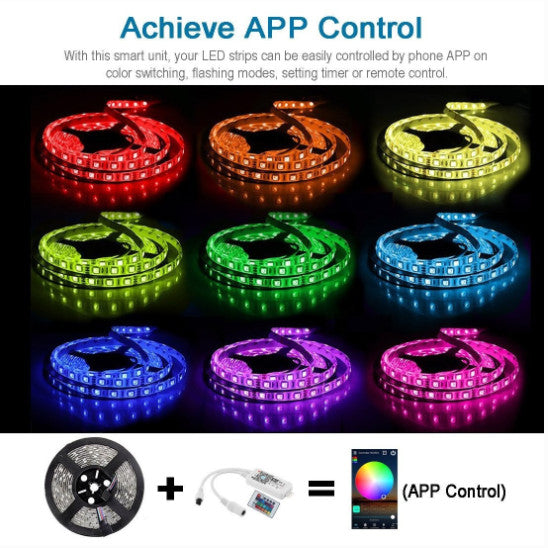 WiFi LED Light Strip Music Sync Remote Controlled by Alexa Echo Android ISO Smart Phone 16.4ft Cuttable 12V RGB 300LED SMD5050 Strip with 24 Keys Controller & 8Amp 96W Power Supply