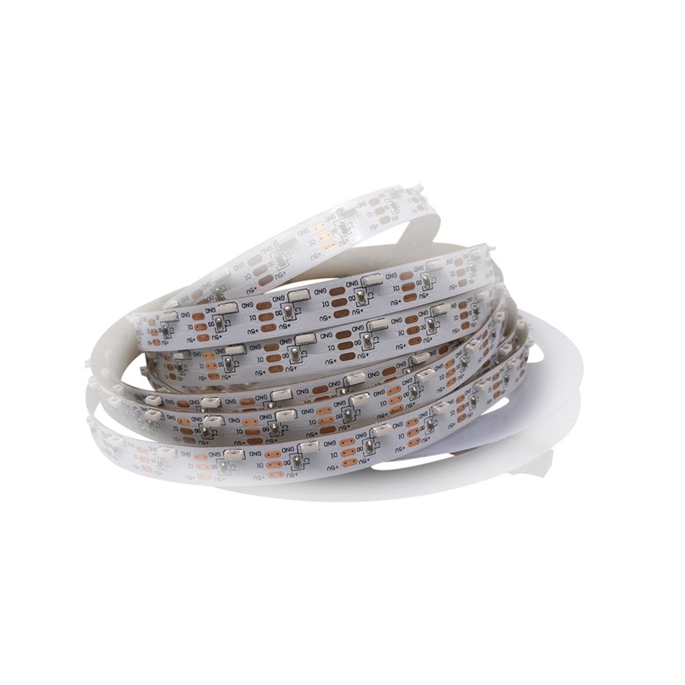 DC 5V 5Meter (16.4Feet) Side Emitting RGB SMD4020 SK6812 Individually Addressable LED Strip Light 60LED/Meter LED Pixel Flexible Tape White PCB Side Emitting SK6812 RGB LED Strip ndividual Addressable