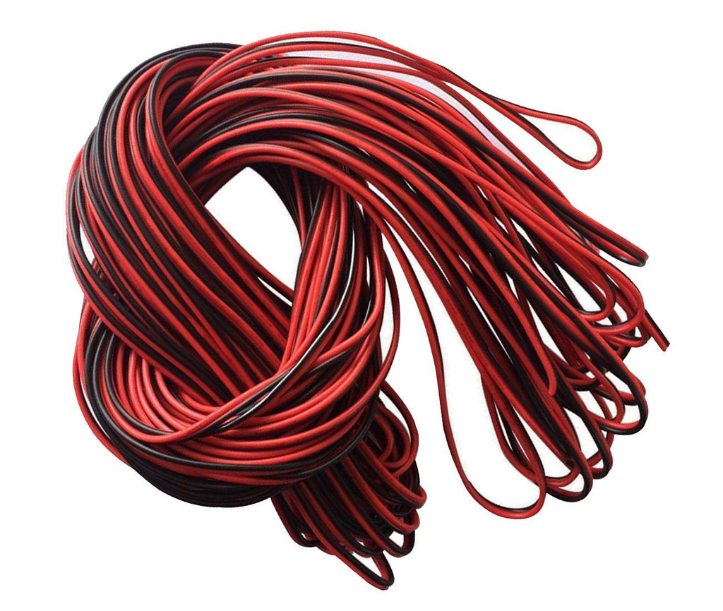 22Guage Red&Black LED Strip Extension Cable 2pin 2 Color Stand Wire Bonded Flat Cable for SMD5050 3528 5630 2538 Single Color LED Ribbon Lamp Tape Lighting