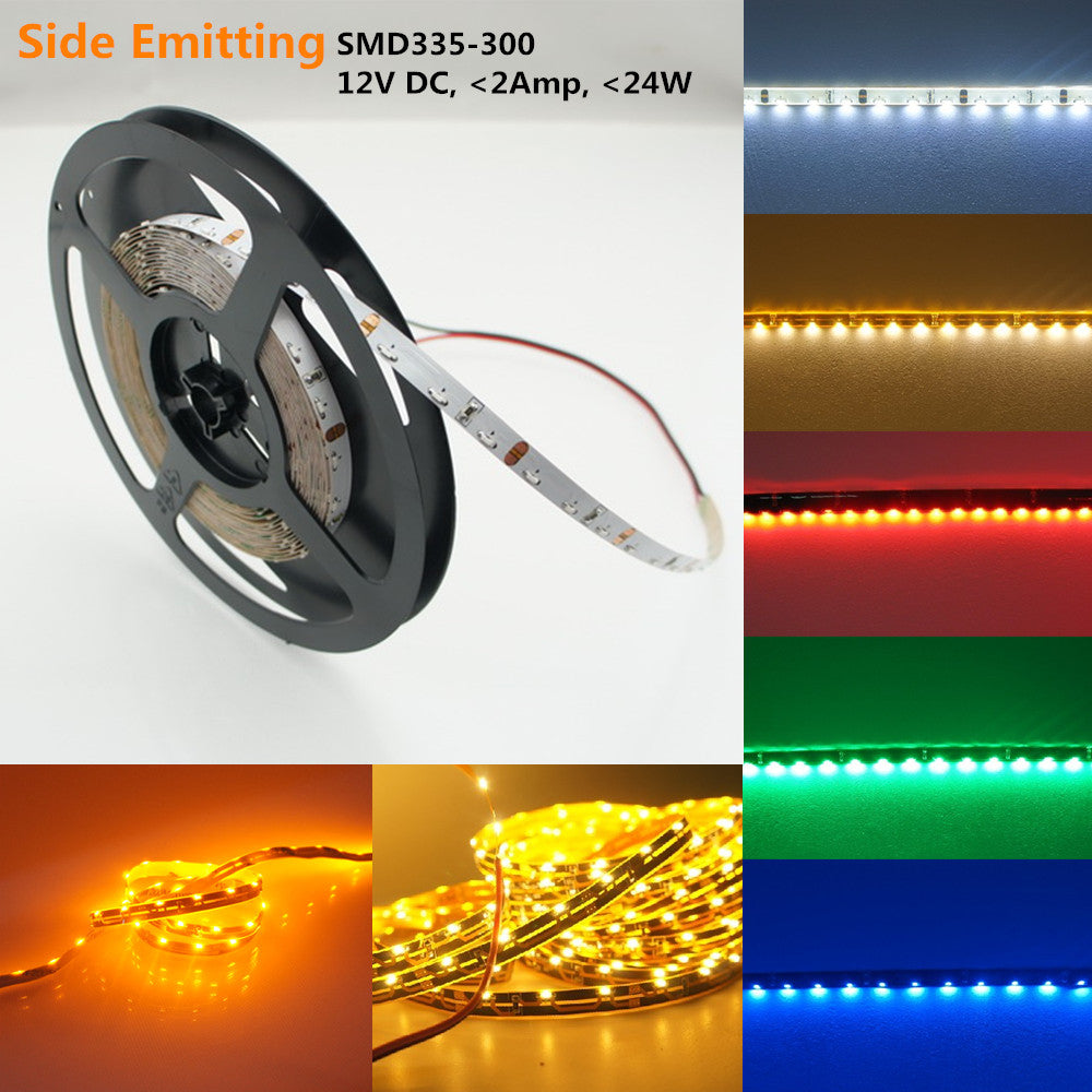 DC12V 5Meter (16.4Ft) Side-Emitting SMD335 300LEDs/Roll Flexible LED Strips 60LEDs/M 4.8W Per Meter Ribbon Lamp 8mm Wide