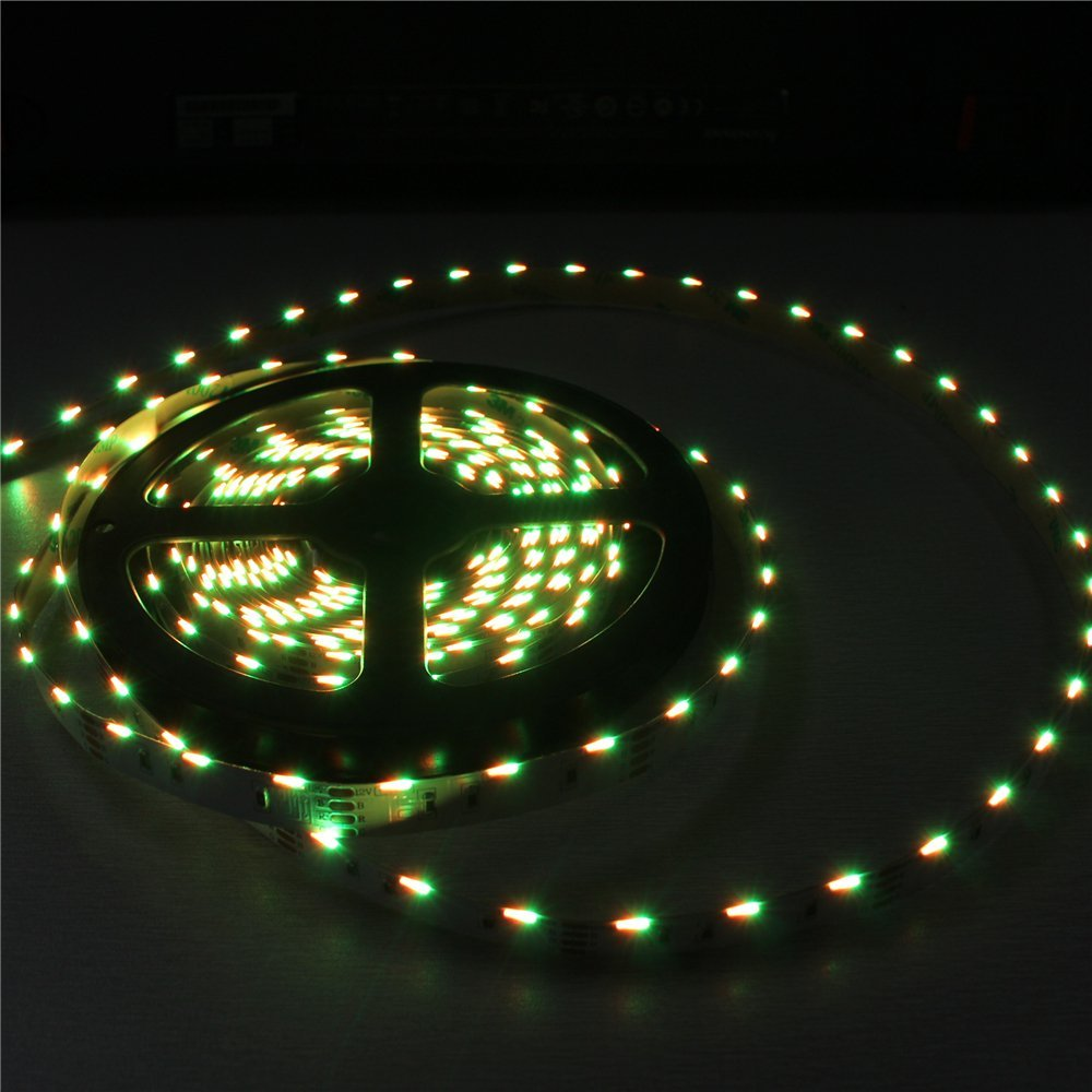 Side Emitting RGB Color Changing LED Strip Lights SMD020 16.4Ft(5M) 300LEDs 60LEDs/M DC12V 14.4W 2.88W/M 10mm White PCB Flexible Ribbon LED Tape with Adhesive Tape