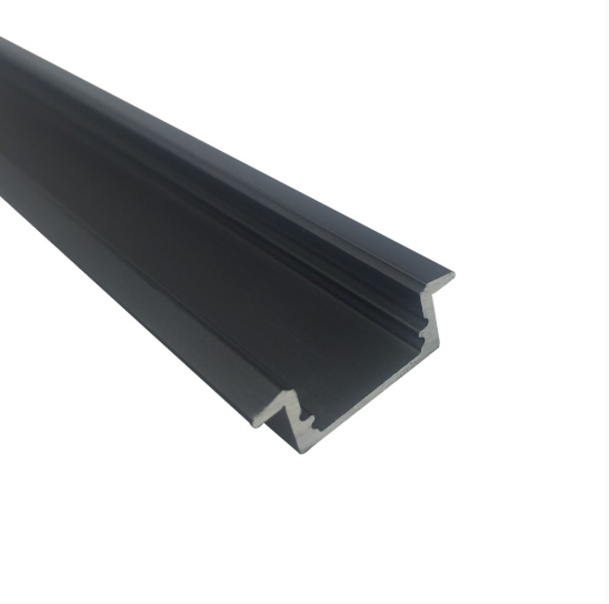 Black U01 9x23mm U-Shape Internal Profile Width 12mm LED Aluminum Channel System with Cover, End Caps and Mounting Clips for LED Strip Light Installations