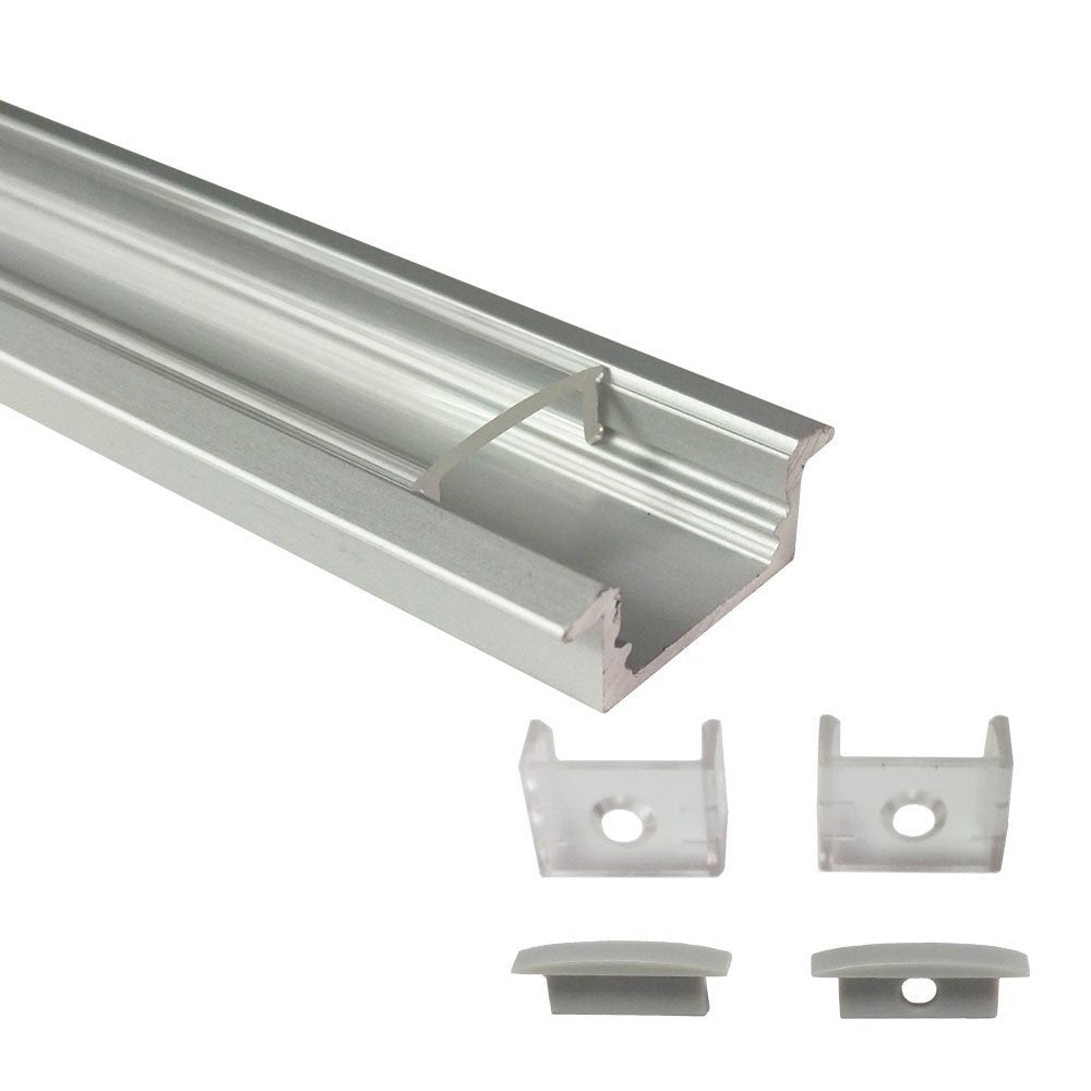 Silver U01 9x23mm U-Shape Internal Profile Width 12mm LED Aluminum Channel System with Cover, End Caps and Mounting Clips for LED Strip Light Installations