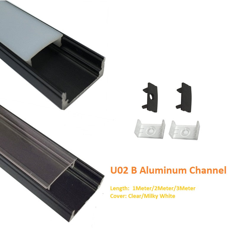 BrightRoom U-Shape Black LED Aluminium Channel 3.3ft//1Meter with End Caps and Mounting Clips for 12.2mm//0.48inch Width LED Strip Light Mounting 5-Pack Milk White Cover Black