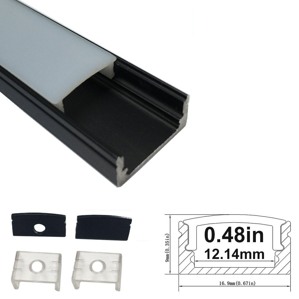 Black U02 9x17mm U-Shape Internal Profile Width 12mm LED Aluminum Channel System with Cover, End Caps and Mounting Clips for LED Strip Light Installations
