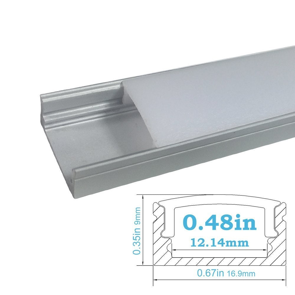 Silver U02 9x17mm U-Shape Internal Profile Width 12mm LED Aluminum Channel System with Cover, End Caps and Mounting Clips for LED Strip Light Installations