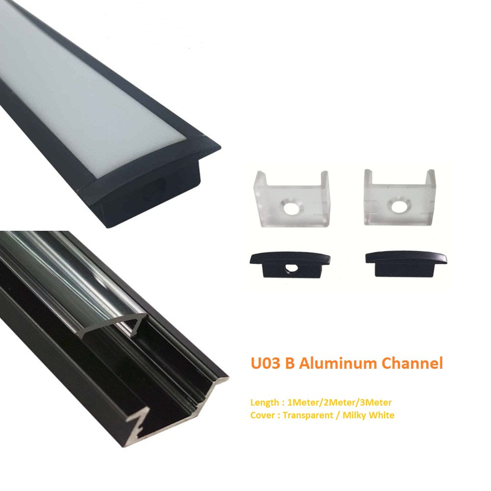Black U03 10x30mm U-Shape Internal Width 20mm LED Aluminum Channel System with Cover, End Caps and Mounting Clips Aluminum Profile for LED Strip Light Installations