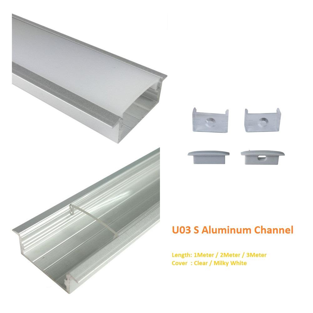 Silver U03 10x30mm U-Shape Internal Width 20mm LED Aluminum Channel System with Cover, End Caps and Mounting Clips Aluminum Profile for LED Strip Light Installations