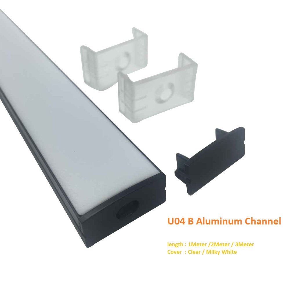 Black U04 10x23mm U-Shape Internal Width 20mm LED Aluminum Channel System with Cover, End Caps and Mounting Clips Aluminum Extrusion for LED Strip Light Installations