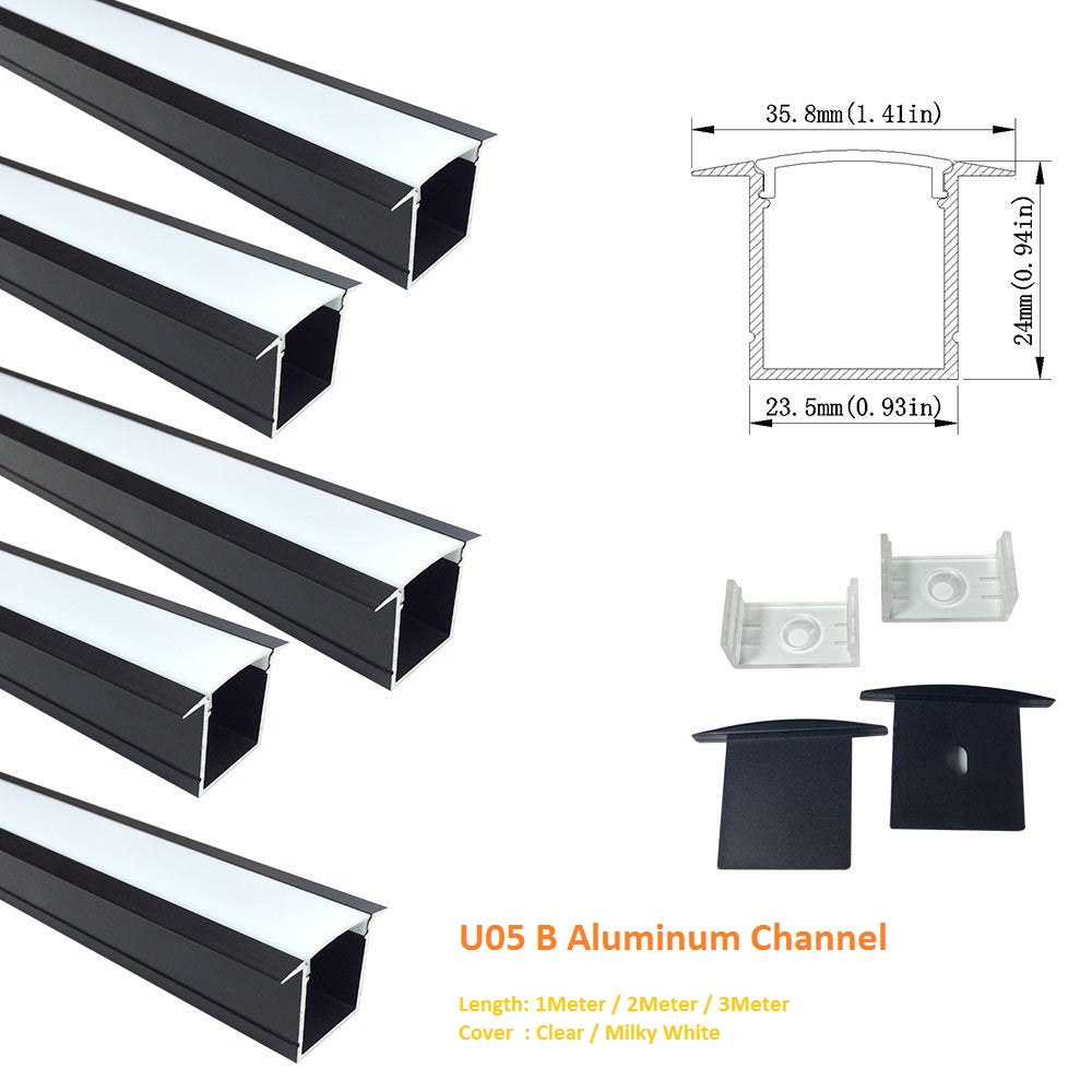 Black U05 36x24mm U-Shape Internal Width 20mm LED Aluminum Channel System with Cover, End Caps and Mounting Clips Aluminum Profile for LED Strip Light Spot Free Installations