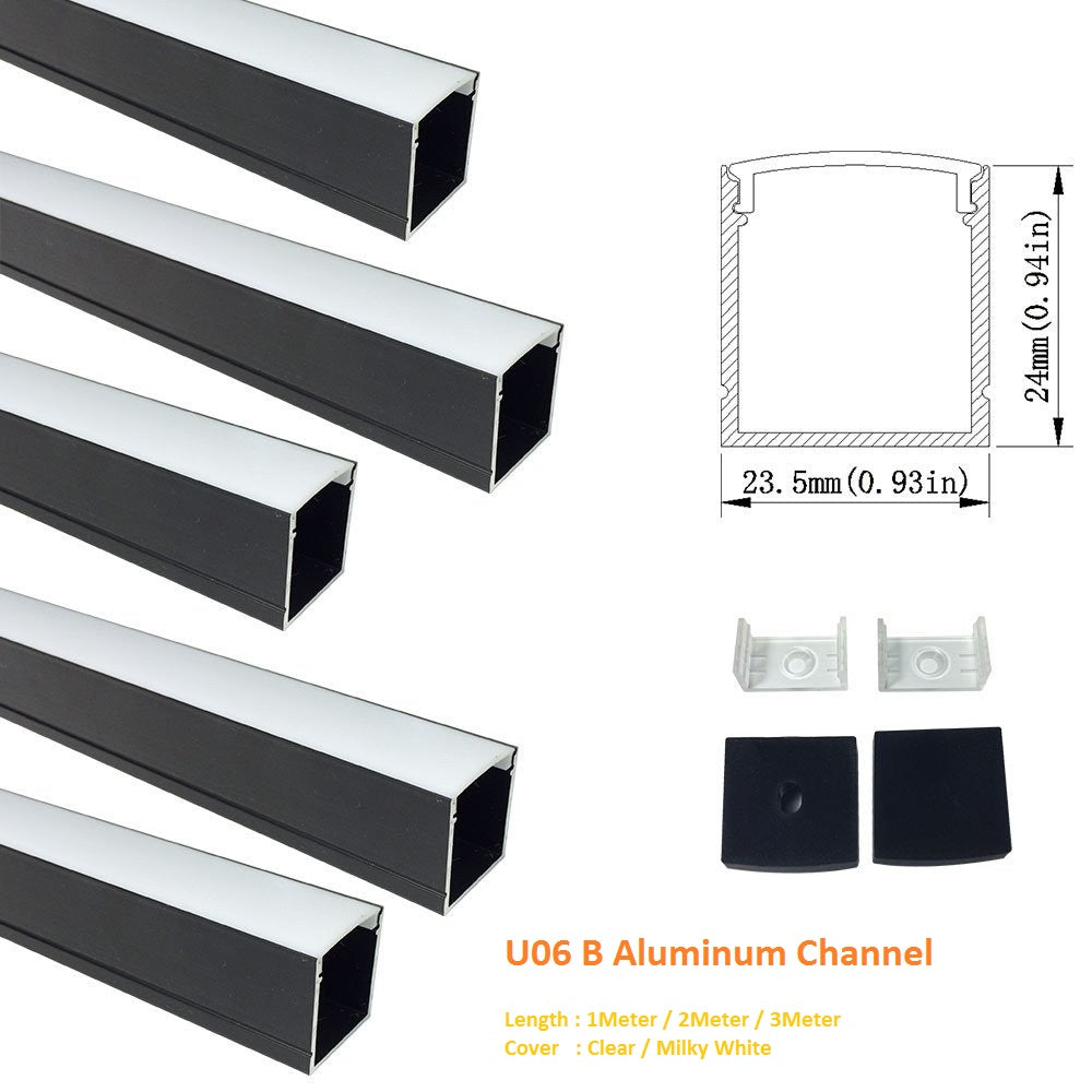 Black U06 24x24mm Silver U Shape LED AluminumBlack Channel Internal width 20mm with White Diffuser Cover, End Caps and Mounting Clips for LED Strip Light Spot Free Installations