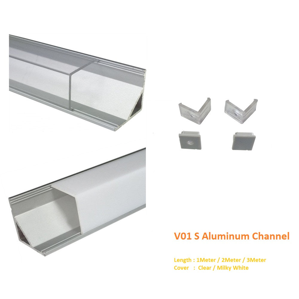 Silver V01 16x16mm V-Shape Vertical Angle Cover Internal Width 12mm Corner Mounting LED Aluminum Channel with End Caps and Mounting Clips Aluminum Extrusion