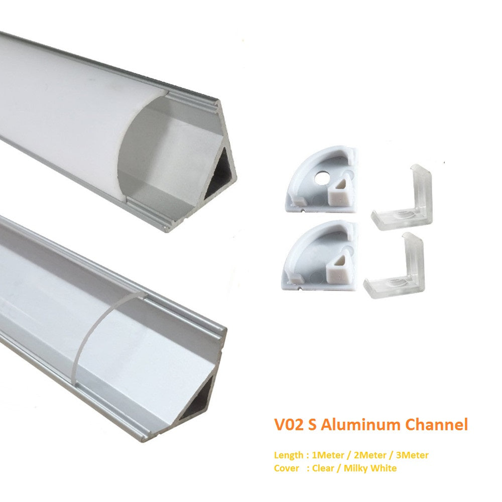 Silver V02 16x16mm V-Shape Curved Cover Channel Internal Width 12mm Corner Mounting LED Aluminum Channel with End Caps and Mounting Clips Aluminum Profile