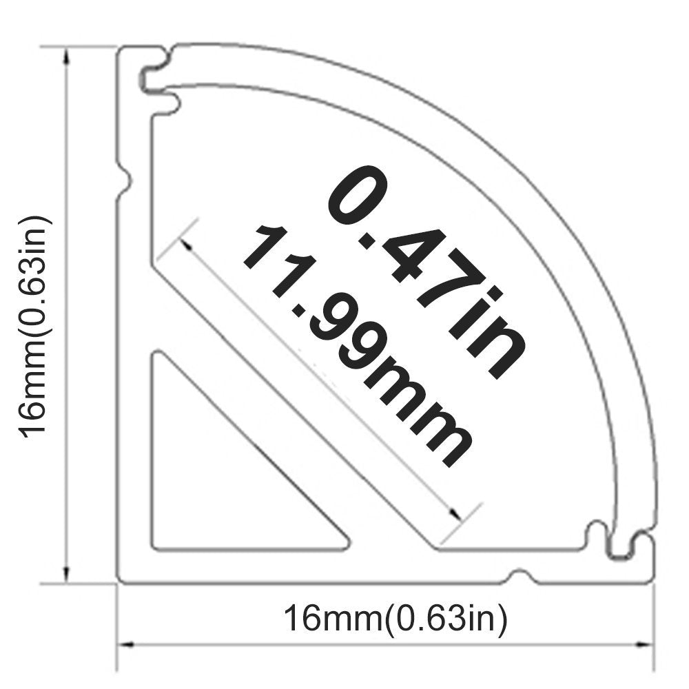 Black V02 16x16mm V-Shape Curved Cover Channel Internal Width 12mm Corner Mounting LED Aluminum Channel with End Caps and Mounting Clips Aluminum Profile