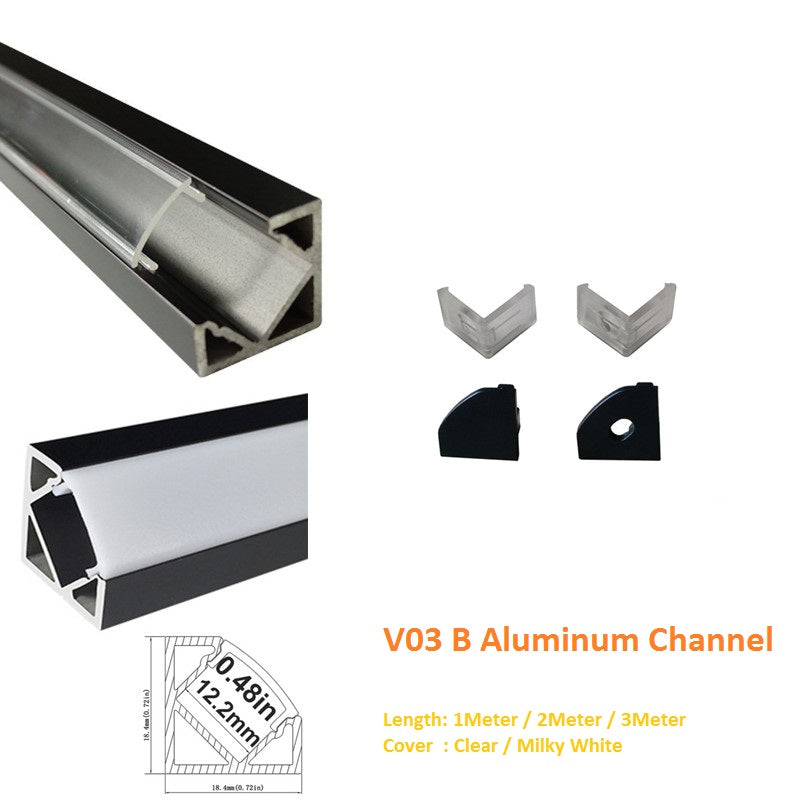 Black V03 18x18mm V-Shape Internal Width 12mm Corner Mounting LED Aluminum Channel with Clear/Milky White Cover, End Caps and Mounting Clips for Flex/Hard LED Strip Light