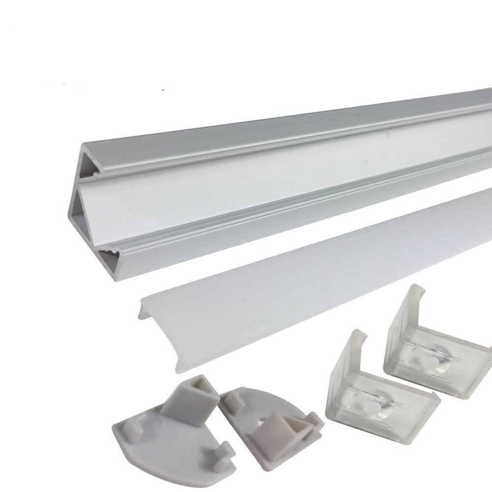 Silver V03 18x18mm V-Shape Internal Width 12mm Corner Mounting LED Aluminum Channel with Clear/Milky White Cover, End Caps and Mounting Clips for Flex/Hard LED Strip Light