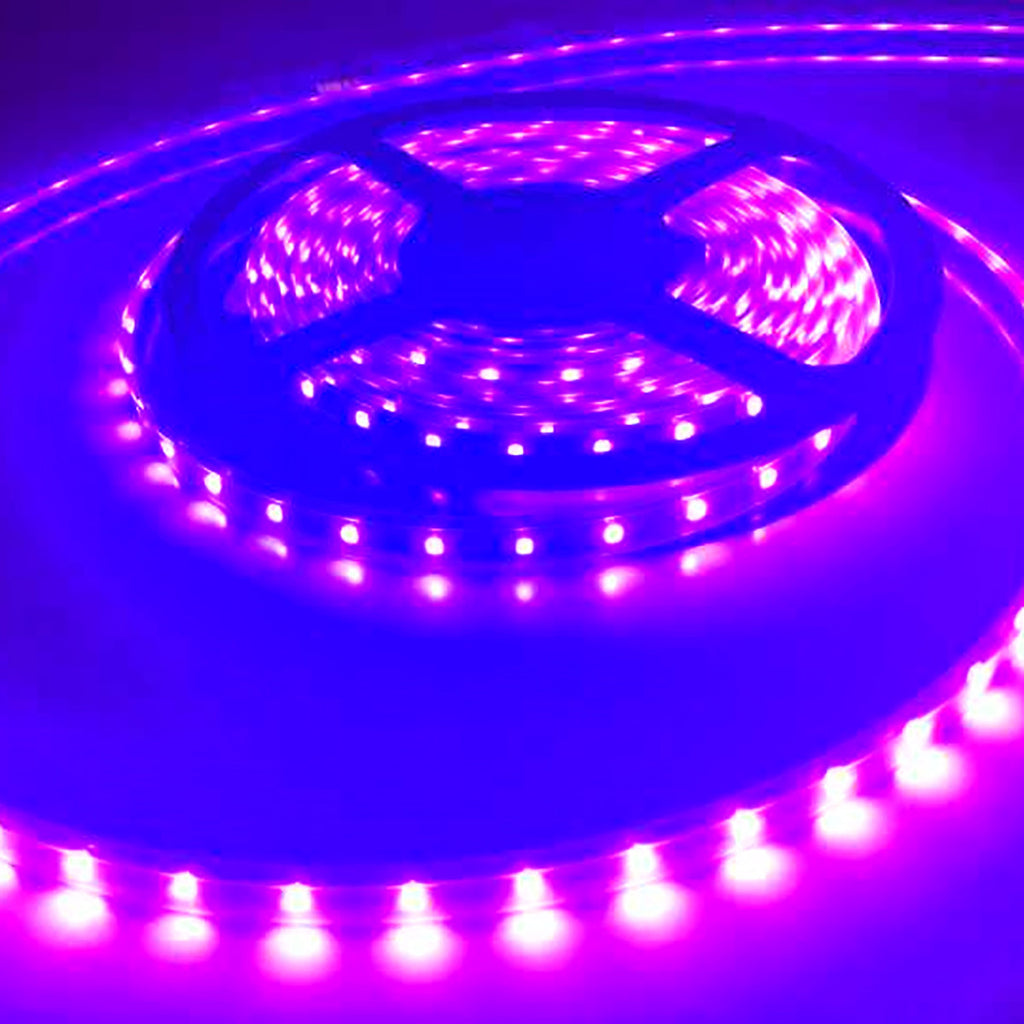 5 Meter (16.4 Feet) UV Ultraviolet 365~395nm SMD2835-600 12VDC 48Watt 120LED/Meter  Flexible LED Strip Lights