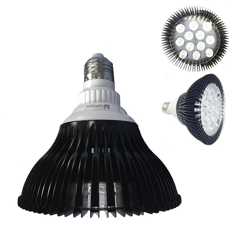 12W (12x1W) PAR38 LED Lamp with E27 Edison Screw Base 100-240V AC Black Housing Indoor Type