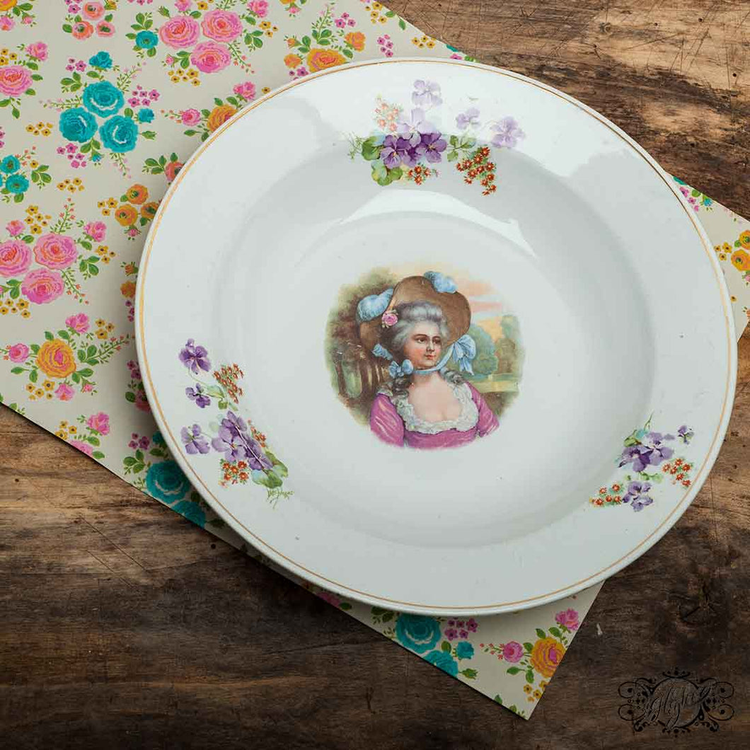 vintage soup plate with lady and violet
