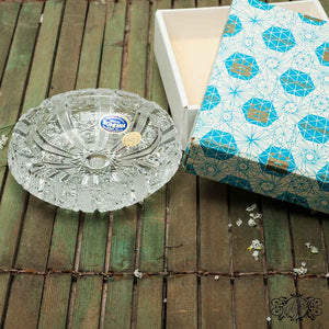 Bohemian crystal ashtrays & box