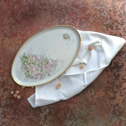 Limoges tray with rose flowers
