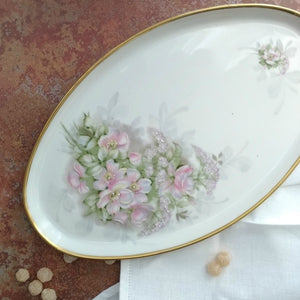 Limoges tray with rose flowers detail