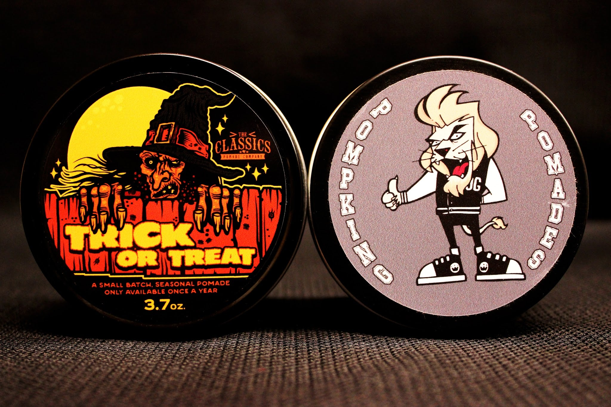 The Classics Trick or Treat Halloween pomade and Pompking pomade