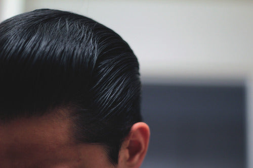 The Pomp's Hair With Layrite Deluxe Pomade