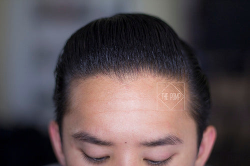 The Pomp - hair styled with Dapper Man Premium Pomade - top view pomp