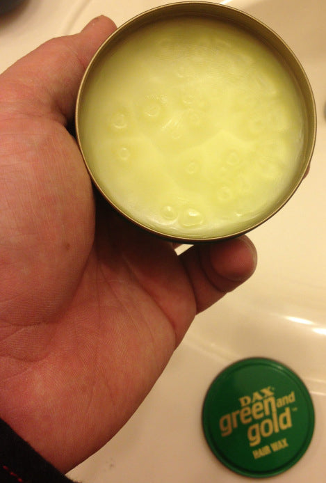 DAX Green and Gold Hair Wax open can