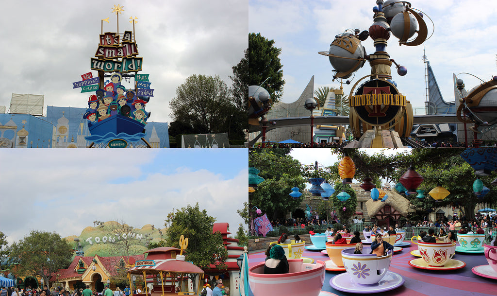 Disneyland attractions Small World, Tomorrowland, Toontown, and the spinning teacups