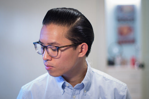 The Pomp hair styled with Doc Elliott Pure Pomade Firm Hold - side view pomp
