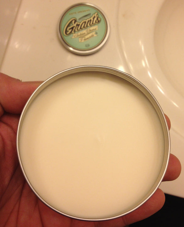 Grant's Golden Brand Pomade Matte Dressing open can