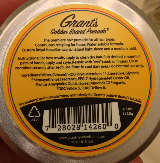 Grant's Golden Brand Pomade Medium Blend bottom label