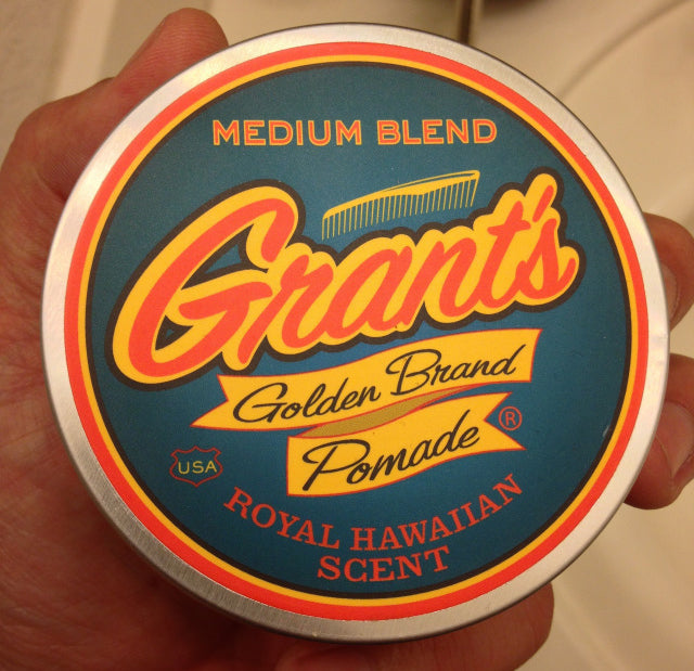 Grant's Golden Brand Pomade Medium Blend top label