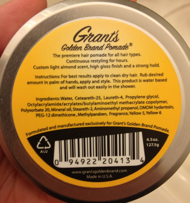 Grant's Golden Brand Pomade bottom label