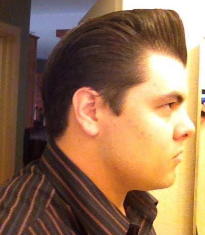 JC Hillhouse hair styled with Grant's Golden Brand Pomade - right side