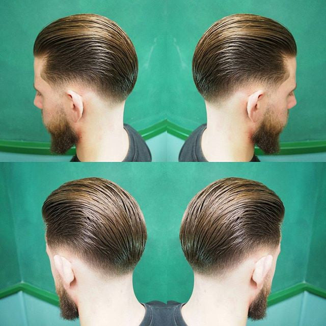 Mr. Pomade - Barber Showcasing Fresh New Cut On Client, Styled and Combed