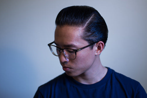 The Pomp hair styled with Mr. Ducktail Wax - Side View