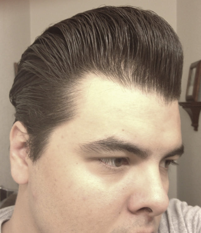 JC Hillhouse hair styled with Formula Y - right side view pomp