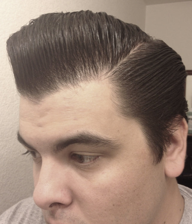 JC Hillhouse hair styled with Formula Y - left side view pomp